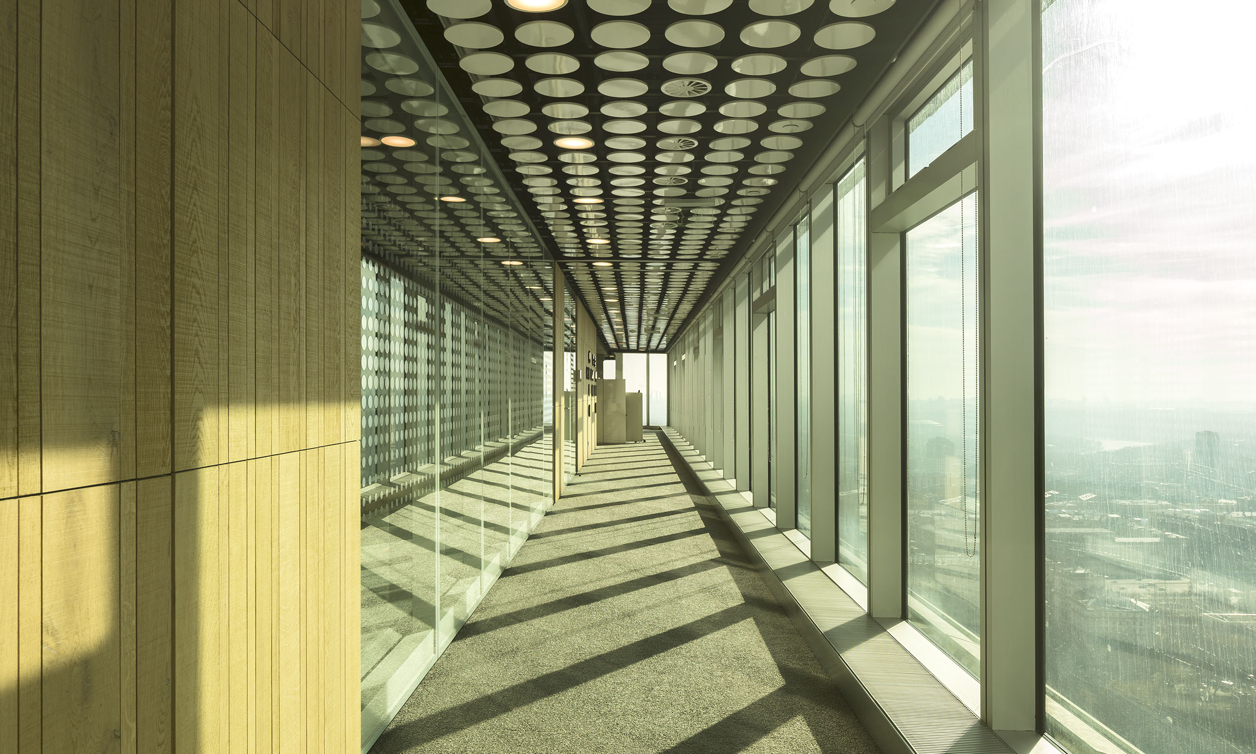 Corridor along facade in Uralchem Headquarters, in Moscow, Russia