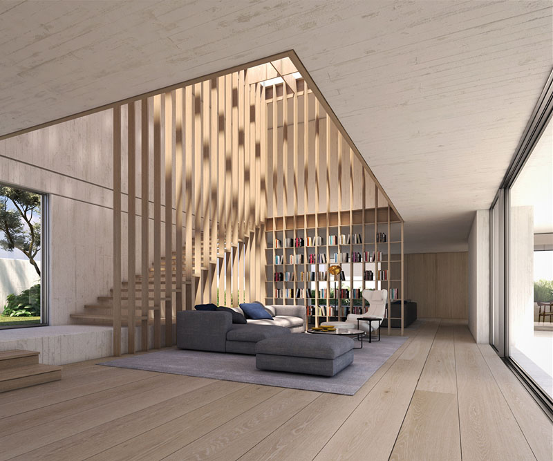 Courtyard House - Double height living room