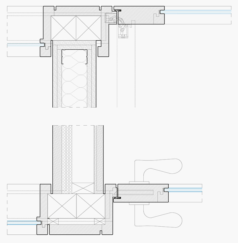 OLX Group Offices - Detail drawing of carpentry for wood partitions and frames